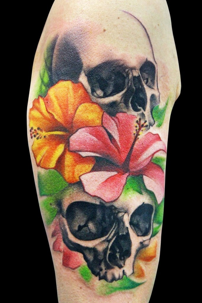 Tattoo of skulls and colourful flowers for Skull and flowers tattoos