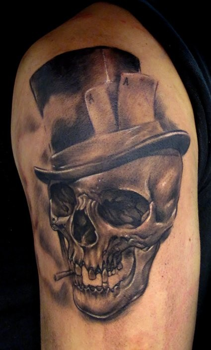 Smoking skull with hat tattoo - Tattooimages.biz