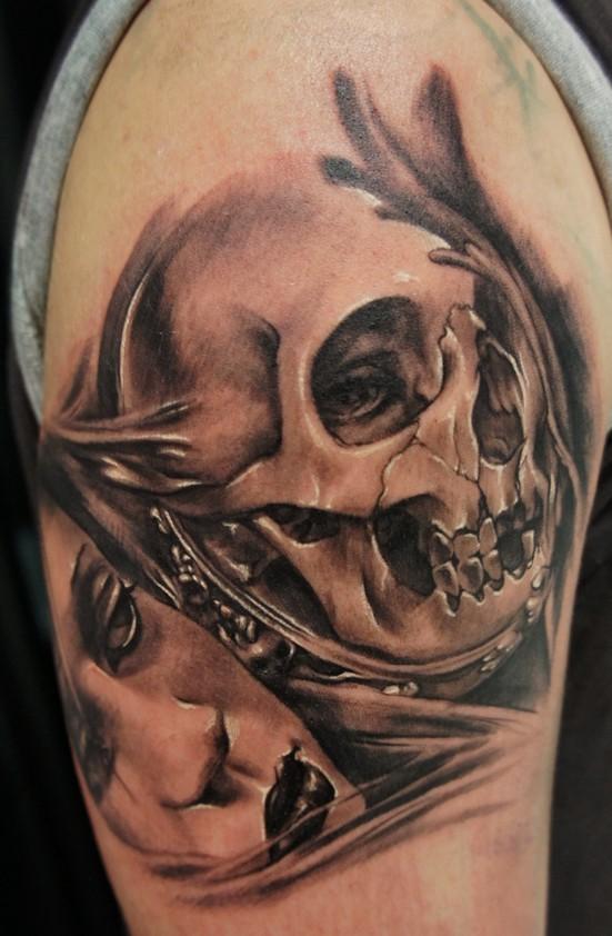 Woman with skull in mirror tattoo - Tattooimages.biz
