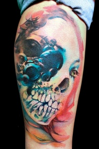 Skull tattoo on the foot men