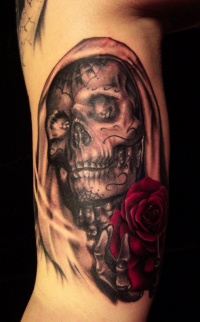 Skull with rose by hatefulss
