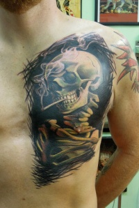 Smoking skull by viptattoo