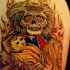 Flaming cowboy skeleton with child tattoo